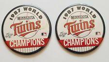 "Vintage 1987 Minnesota Twins World Series Champions 3.5"" Button Pin Lot of 2"