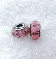 2 PANDORA Silver S925 ALE Murano Charm White Dots Swirl Pink Belt Beads #016