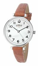 Limit Ladies Silver Coloured Case Watch White Pearlescent Dial Tan Strap 60060