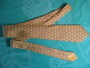 Yellow & Blue Circular Geometric Patterned HERMES of France 100% Silk Neck Tie
