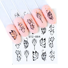 Nail Art Water Decals Stickers Transfers Black Flowers Floral Butterflies (884)