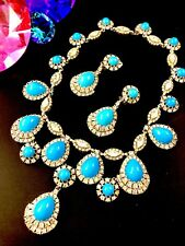 CINER ZSA ZSA TURQUOISE GLASS CABOCHON RHINESTONE PRINCESS NECKLACE EARRINGS SET