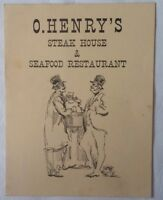 Restaurant Menu For O. Henry's Steak House & Seafood  Greenwich Village N.Y.