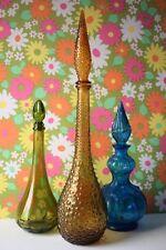 Vintage Italian 60s Amber Empoli Glass 70s Tall Decanter Genie Bottle