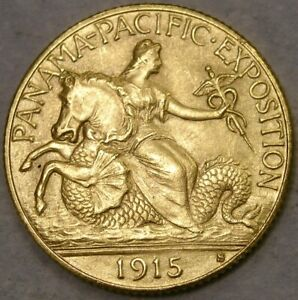 1915 S PANAMA PACIFIC COMMEMORATIVE GOLD🔥$2.5🔥VERY RARE🔥APPEALING BEAUTIFUL🔥