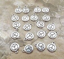 Twenty (20) Pewter Peace Sign Charms -  5220