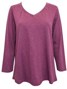 NEW  WHITE STUFF PLUM V Neck Long Sleeve Jersey Tee Top 16 pure Cotton Jersey