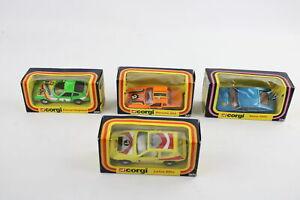4 x Vintage Boxed CORGI Diecast Models Inc. Rover 3500 338, Lotus Elite 301 Etc