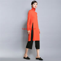Womens Knitting Hem split ends Turtleneck Long Sweater Casual Warm Tops Pullover