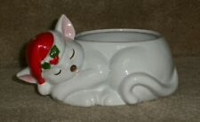 Fritz and Floyd ceramic sleeping white cat holder with santa hat
