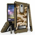 For LG Stylo 4 Q710 Tri Shield Hybrid Kickstand Case Brown Camo