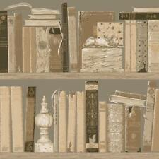 Wallpaper Old World Library Books Trompe l'oeil Bookcase Shelves Taupe Tan Beige
