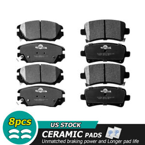 Front Rear Ceramic Brake Pads Fit for 2013-2015 Malibu 2014-2016 Chevy Impala