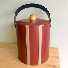 Vintage Mid Century Georges Briard Red Stripe Faux Leather Vinyl Ice Bucket Wood