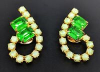 Lovely Gold Tone faux Emerald Clip-on Earrings