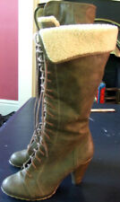 New Look knee high combact leatherdistressed brown boots