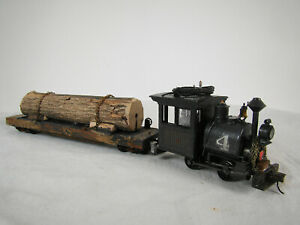 On30 Steam Logging Locomotive with Logging Car - custom weathered - DCC & Sound