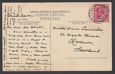 "Ceylon, 1907 PPC to Scotland, ""Native Hut in Ceylon"", DEC 25 cancel"