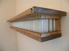 Rustic Farmhouse Galvanized Metal Wood Top Floating Industrial Shelf Mantel