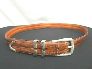 MARTIN DINGMAN Brown Leather Alligator Grain Silver 4 Pc Buckle Belt Men Sz 34