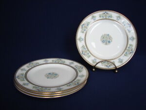"Set of 4 Minton HENLEY 6-1/2"" Bread Plates Green & Blue Flowers Gold Trim"