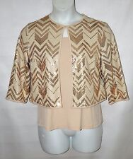 Bob Mackie 3/4 Sleeve Sequin Cardigan and Knit Tank Set Size S Champagne