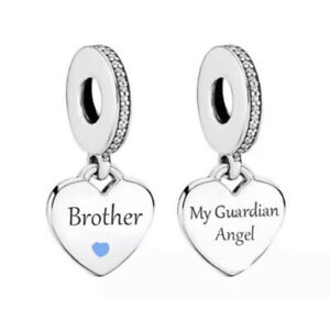 BROTHER MEMORIAL CHARM MY GUARDIAN ANGEL GENUINE 925 STERLING SILVER GIFT 💜💛💜