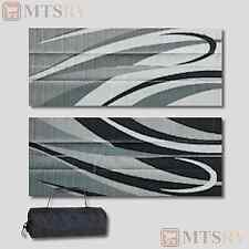 MMI Reversible Patio Mat - 8x16 ft - Black-Silver Swirl - Durable Awning RV -NEW