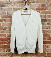 RALPH LAUREN SPORT Women's Cardigan Cable Knit Jumper V-Neck Logo Cream M Preppy