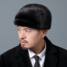 Male New  Mink Fur Hat Russian Trapper Cossack Winter Warm Hat Ski Cap-2