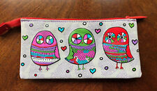 Paperchase Owl Pencil Case Zipper Pouch Cosmetic Bag Gray Red Green Purple