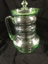 Green Depression Glass Pitcher With Lid