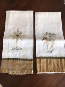 Glimmer Christmas Gold  Deer & Star Hope Noel Hand Towels Set of 2 in Natural