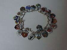 Bettelarmband,Armband mit 20 Anhängern,Wappen,Stadt,Land,800 Silber,antik