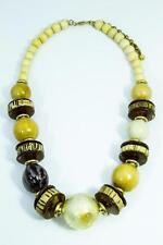 Handmade Chunky Statement Natural Coconut Coco Wood Ball Bead Bib Necklace