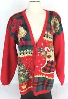 Heirloom Collectibles Womens M Red Ugly Christmas Sweater Cardigan Bells Wreath