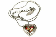 DISNEY HEART LOCKET SILVER NECKLACE FLOATING AMERICAN FLAG MICKEY LOVE CHARM