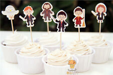 12 x Harry Potter Wizard Cake Picks Cupcake Toppers Flags Kids Birthday Party