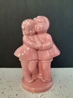 Vintage Pink Girl And Boy Planter Hugging  Carved Initials 7.5 Inches VALENTINE