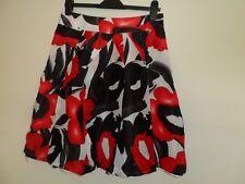 "Monsoon ladies black white red mix detailed skirt size 10 waist 30"" silk / linen"