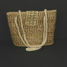 Eldenas Collection Purse Shoulder Bag Tan Rattan Zig Zag Pattern Hand Crafted