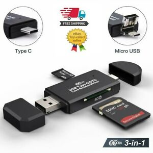 USB 2.0 Micro Memory SD Card Reader For TF SDXC SDHC MMC+ USB Type-C OTG Adapter