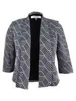Kasper Women's Printed Flyaway Jacket 12, Black/Silver