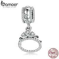Bamoer S925 Sterling Silver Dangle charm The Princess Crown Fit Women Bracelet