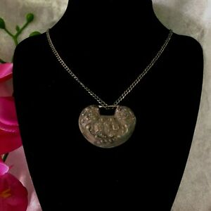 Sterling Silver Chinese /Tibetan Hollow Repousse Bean Faux Locket Necklace 1800s