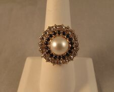 Vintage 14k gold diamond sapphire and pearl cocktail ring size 7 ½