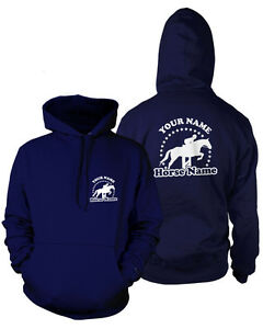 PERSONALISED HORSEY HOODIE Rider's Name & Horse Adults Equestrian Jumping
