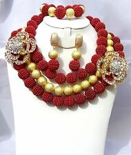 Red with Gold balls Wedding Bridal Brooch African Nigerian Beads Jewelry Set