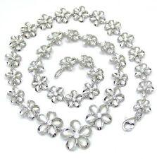 Plumeria Necklace Rhodium Silver 925 Graduated Hawaiian