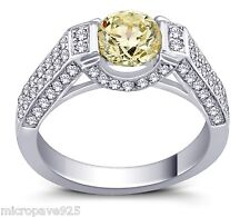 Canary Yellow Cubic Zirconia 1.5 Carat Stone Solitaire Ring With Pave Setting